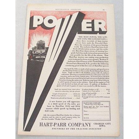 1929 Hart Parr 18-36 Tractor Print Ad