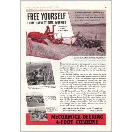 1941 McCormick Deering 4-Foot Combine Color Print Ad