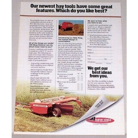 1978 New Idea 299 Mowditioner Hay Equipment Color Print Ad