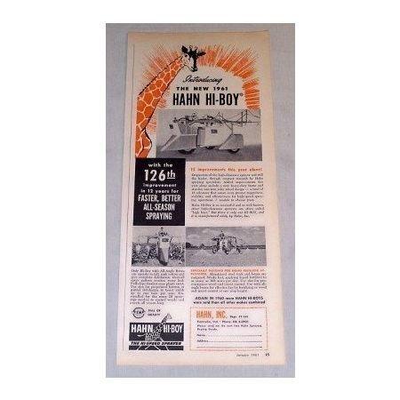 1961 Hahn Hi-Boy High Clearance Sprayer Print Ad