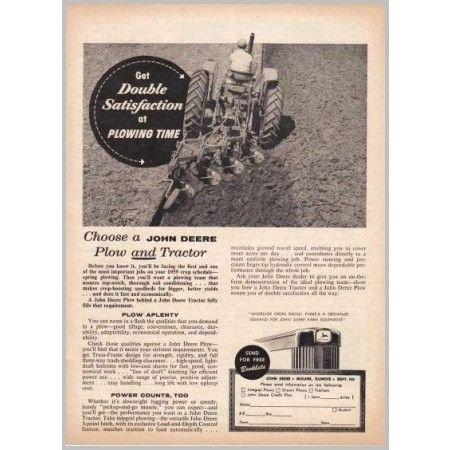 1959 John Deere Tractor 4 Point Plow Print Ad