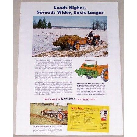 1951 New Idea Manure Spreader Color Print Ad