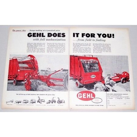 1959 Gehl Chop All PTO Forge Box 2 Page Color Print Ad