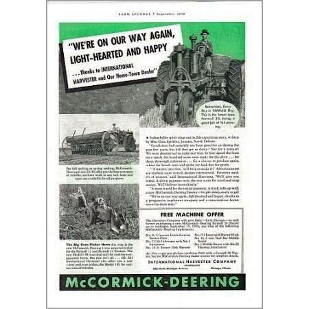1938 McCormick Deering Farmall 20 Farm Tractor Print Ad