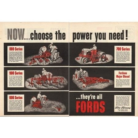 1955 Ford Series Farm Tractors 2 Page Color Print Ad