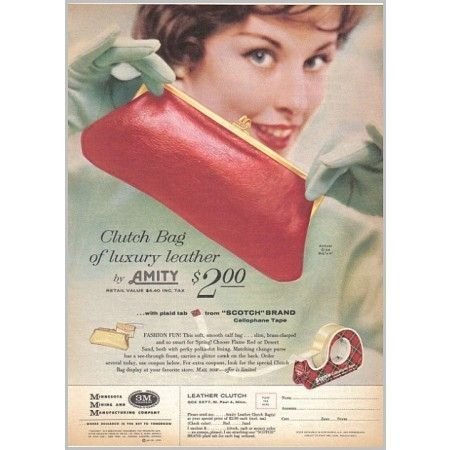 1959 Scotch Tape Amity Clutch Bag Offer Color Print Ad