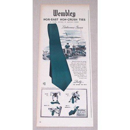 1946 Wembley Nor-East Delaware Green Ties Color Print Ad