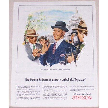 1945 Stetson Diplomat Mens Hat White House Washington Color Art Print Ad