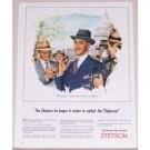 1945 Stetson Diplomat Mens Hat White House Washington Color Art Print Ad