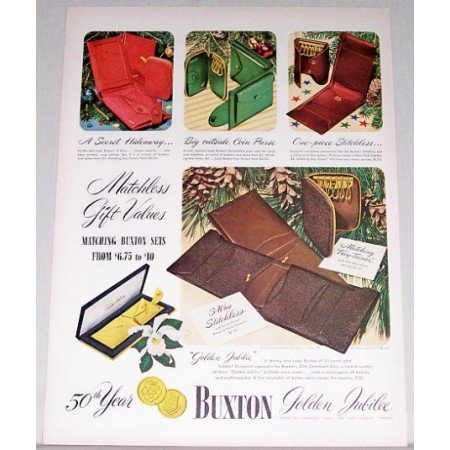 1948 Buxton Golden Jubilee Billfold Color Art Print Ad