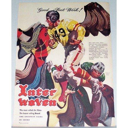 1948 Interwoven Socks Football Art Color Print Ad