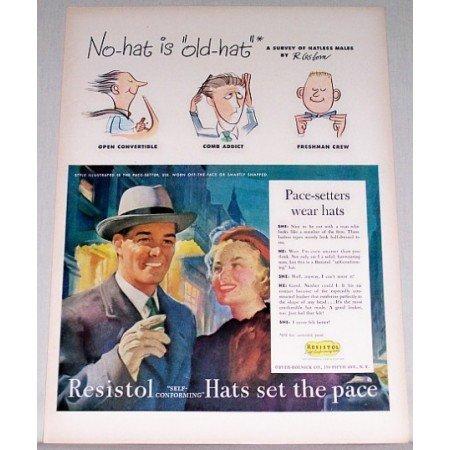 1948 Resistol Self-Forming Hats Color Art Print Ad