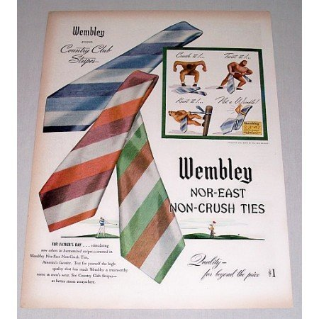 1946 Wembley Country Club Stripes Tie Ties Color Print Ad