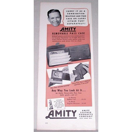1951 Amity Removable Pass Case Billfold Color Print Ad