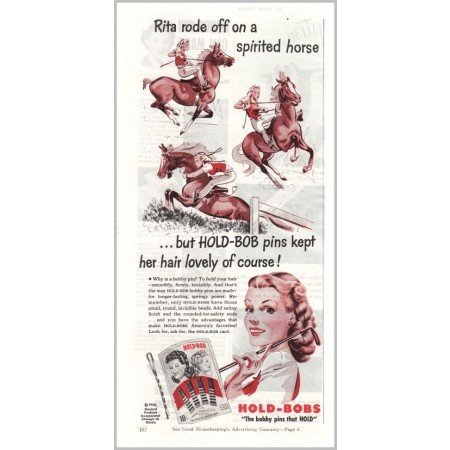1945 Hold-Bobs Bobby Pins Horse Riding Art Color Print Ad - Rita