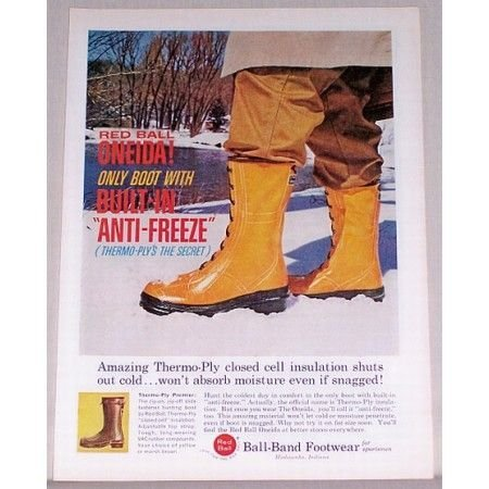 1961 Ball-Band Red Ball Oneida Rubber Boots Color Print Ad