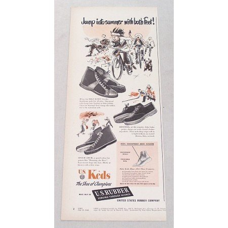 1948 U.S. Keds Shoes Print Ad - Jump Into Summer