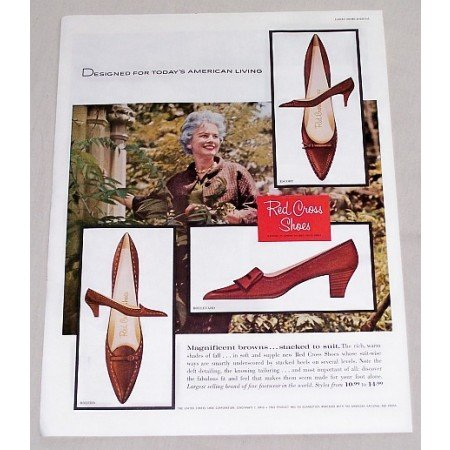 1960 Red Cross Women's Heel Shoes Color Print Ad