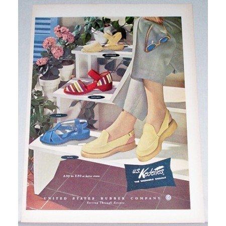 1948 U.S. Kedettes Casual Slippers Shoes Color Art Print Ad