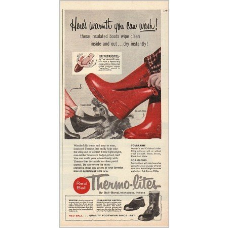 1955 Red Ball Thermo-lites Insulated Boots Color Print Ad