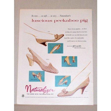 1957 Naturalizer Pumps Shoes Color Print Ad