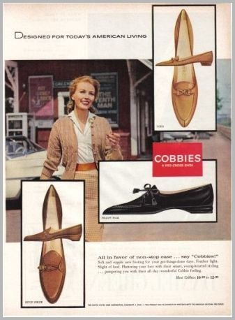 1960 Cobbies Red Cross Shoes Color Print Ad