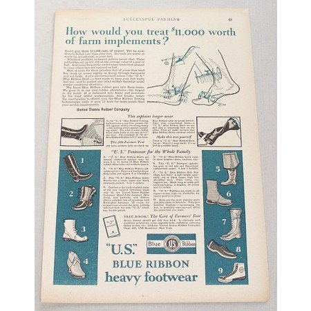 1929 Blue Ribbon Heavy Ankle Knee Boots Footwear Print Ad