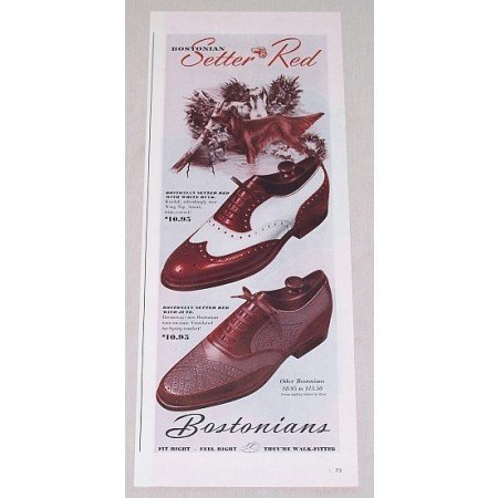 1946 Bostonians Setter Red Dress Shoes Color Print Ad