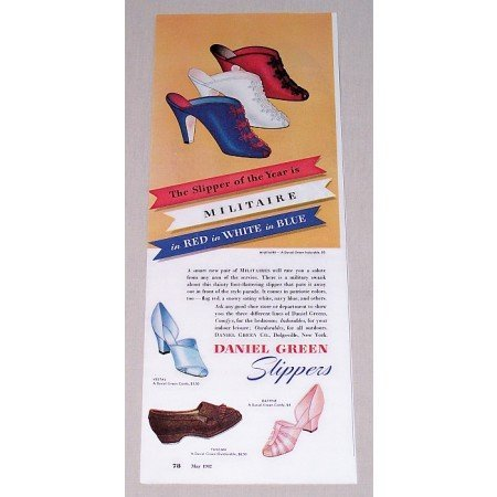 1942 Daniel Green Militaire Slippers Color Print Ad