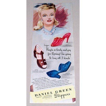 1942 Daniel Green Slippers Color Art Print Ad Dryad Amigo Tiffin