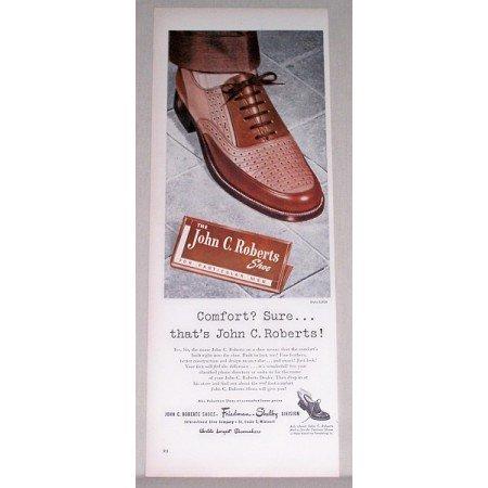 1947 John C Roberts Mens Dress Shoes Color Print Ad