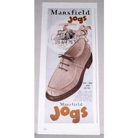 1945 Mansfield Jogs Men's Shoes Color Print Ad