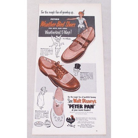1953 Peters Weather Bird Shoes Disney's Peter Pan Color Print Ad