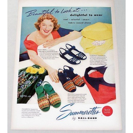 1951 Ball Brand Summerettes Womens Shoes Color Art Print Ad Celebrity Ellen Drew