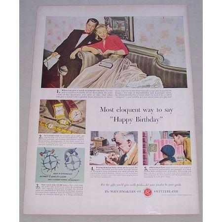 1950 Watchmakers of Switzerland Color Print Ad