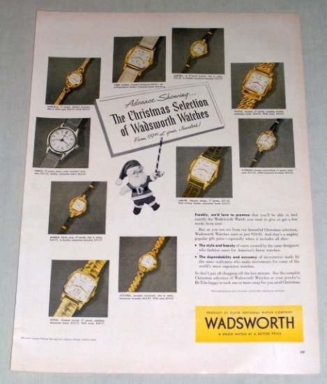 1953 WADSWORTH Watches Color Christmas Print Ad