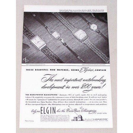 1947 Lord & Lady Elgin Watches Print Ad
