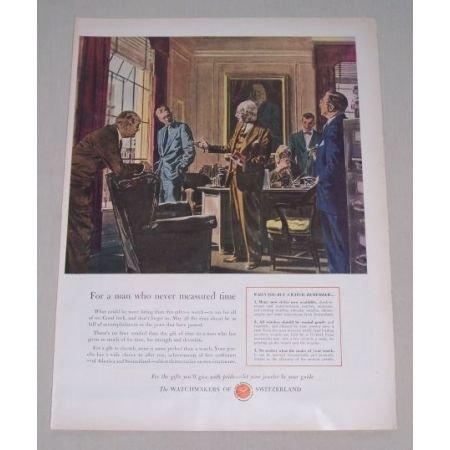 1949 Watchmakers of Switzerland Color Art Ad
