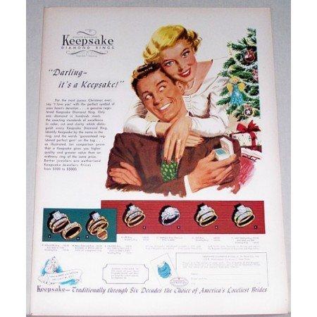 1948 Keepsake Diamond Rings Color Art Print Ad - Darling It's A Keepsake
