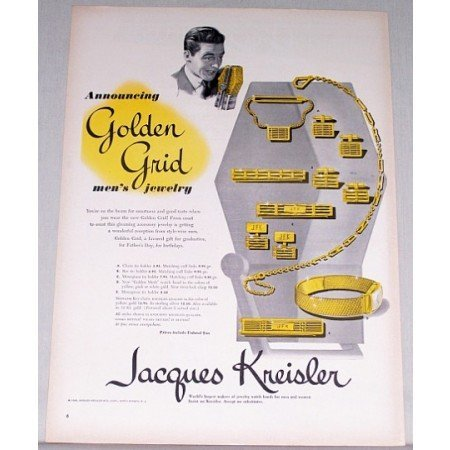 1948 Jacques Kreisler Golden Grid Mens Jewelry Color Print Ad