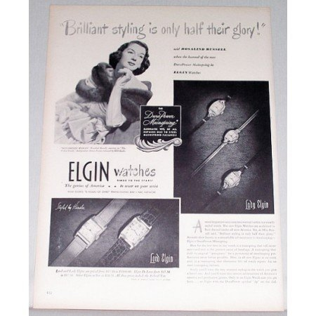 1948 Elgin Watches Print Ad Celebrity Rosalind Russell
