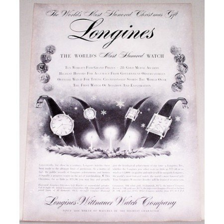 1955 Longines Watch Print Ad - Worlds Most Honored Watch