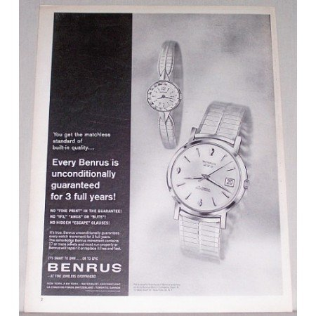 1962 Benrus 17 Jewel Watch Print Ad
