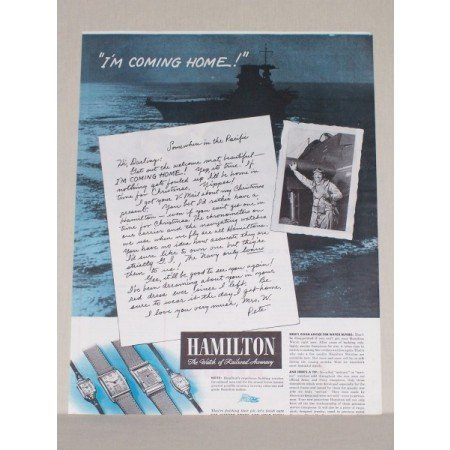 1945 Hamilton Watches Color Wartime Warship Print Ad - Coming Home