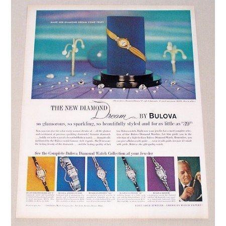 1961 Bulova New Diamond Dream Ladies Watch Color Print Ad