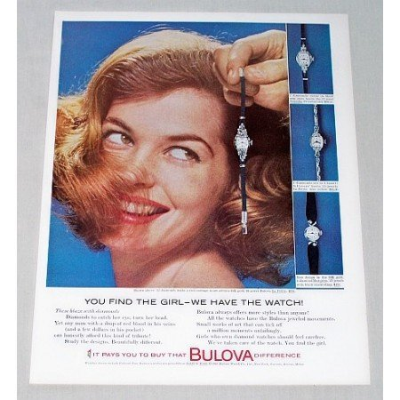 1960 Bulova La Petite 23 Jewel Watch Color Print Ad