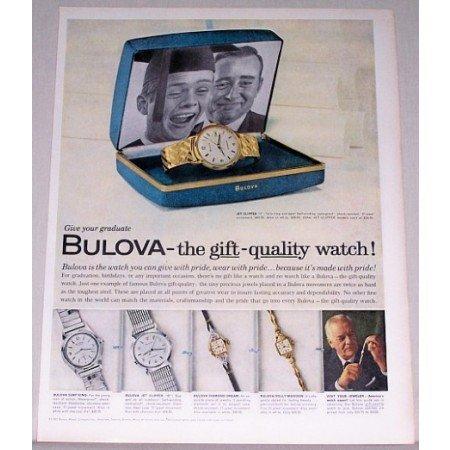 1962 Bulova Jet Clipper J Watch Color Print Ad