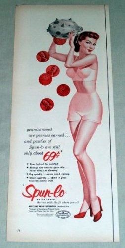 1953 Spun Lo Rayon Fabric Panties Wheat Penny Pennies Color Print Ad