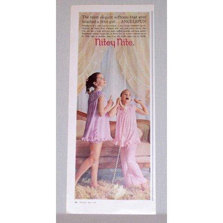 1957 Nitey Nite Girls Sleepers Color Print Ad - Angelspun