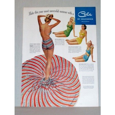 1948 Cole Of California Sexy Swimsuits Cordrey Art Color Print Ad